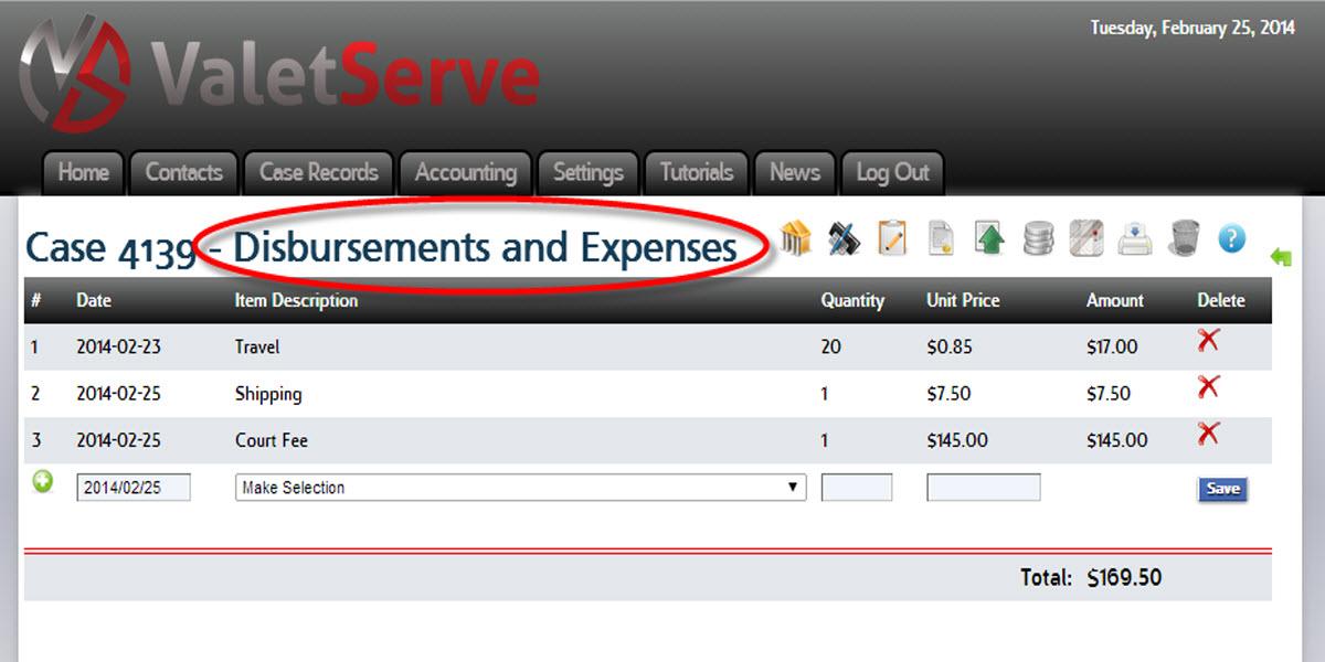 Track Expenses on ValetServe.com
